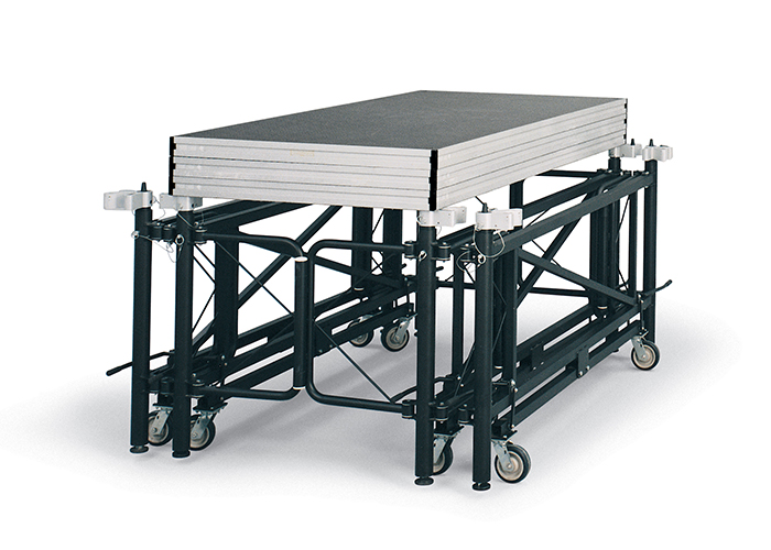 portable stage on wheels