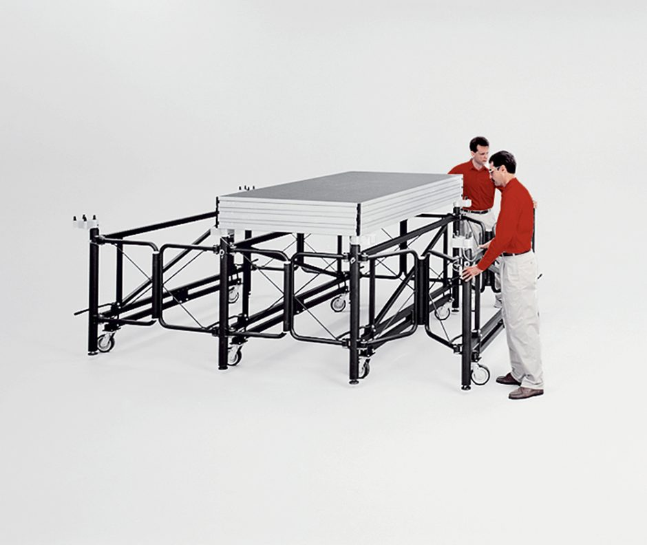 Me 3750 Rolling Stage Supports Portable Stage On Wheels