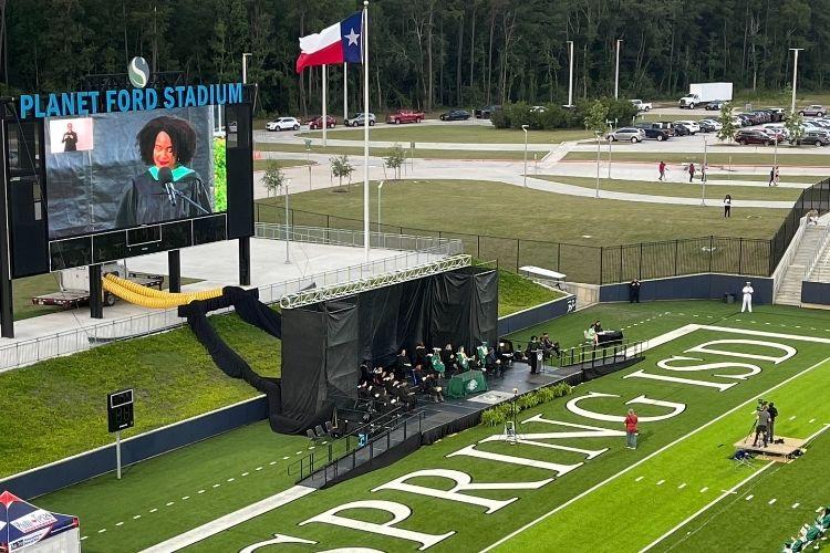 outdoor graduation stage